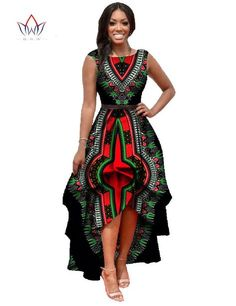 African Dashiki Ankara Dresses with Cascading Ruffle ~DKK ~African fashion, Ankara, kitenge, African women dresses, African prints, African men's fashion, Nigerian style, Ghanaian fashion.
