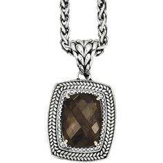 Shey Couture Smoky Quartz Two-Tone Antiqued Pendant Necklace ($500) ❤ liked on Polyvore featuring jewelry, necklaces, 14k necklace, smoky quartz pendant, long pendant, brown necklace and long necklaces