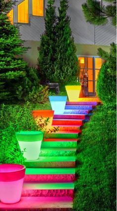 "Great colors for a fun backyard!!  ""Soft Glow"" illuminated planters (from PP Plastic Products)"