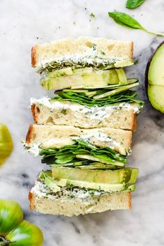 Green Goddess Cream Cheese and Veggie Sandwich @FoodBlogs