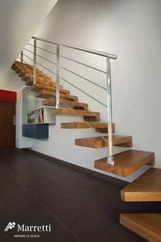Wooden Open Cantilever Staircase, Interior Wooden Stairs Production by Marretti