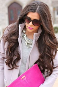 Classic, monogrammed envelope, brown waves, curly long hair, pink lip