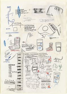 """Jean-Michel Basquiat. Untitled. (1985). Cut-and-pasted paper and oilstick on paper. 41 1/2 x 29 1/2"""" (105.4 x 75 cm). Acquired in memory of Kevin W. Robbins through funds provided by his family and friends and by the Committee on Drawings. 194.1993. © 2016 Artists Rights Society (ARS), New York / ADAGP, Paris. Drawings and Prints"""