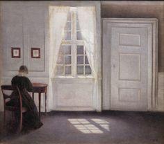 """Vilhelm Hammershøi (1864-1916), """"Stue i Strandgade med solskin på gulvet"""", 1901.  Statens Museum for Kunst / National Gallery of Denmark. ttp://www.smk.dk/index.php?id=2910"""