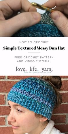 This close up video tutorial will walk you through all the steps in making the Simple Textured Messy Bun Hat - a FREE crochet pattern from Love. hat pattern free kids boys How to Crochet the Simple Textured Messy Bun Hat Easy Crochet Hat, Bonnet Crochet, Crochet Slouchy Hat, Crochet Beanie Pattern, Crochet Motifs, Knitted Hats, Crochet Patterns, Beginner Crochet, Free Knitted Hat Patterns