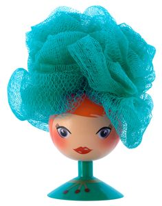 Let's have a bath with this cute lady who holds our scrubbie exfoliating sponge! PYLONES France