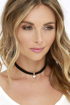 Let's Dip Gold and Black Rhinestone Choker at Lulus.com!