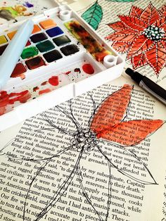 I do this for my art journal/altered book pages! paint over old book pages with water color Diy Projects To Try, Crafts To Do, Art Projects, Arts And Crafts, Paper Crafts, Kids Crafts, Watercolor Books, Simple Watercolor Paintings, Simple Paintings
