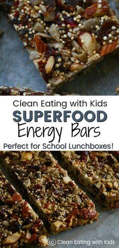 These Superfood Energy bars are full of all the good stuff: Nuts, Seeds and they are Sugar free. The secret ingredient is what makes them sticky and sweet. Want to know what that secret ingredient is? Healthy Bars, Healthy Sweets, Healthy Snacks, Healthy Recipes, Real Food Recipes, Snack Recipes, Cooking Recipes, Yummy Food, Clean Eating Recipes