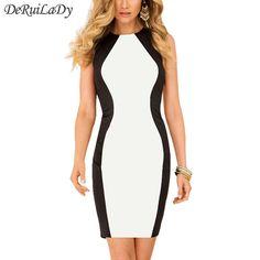 Deruilady mode zwart wit splice vrouwen dress sleeveles vest zomer jurken plus size sexy dress vintage kantoor bodycon dress