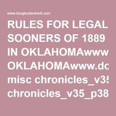 RULES FOR LEGAL SOONERS OF 1889 IN OKLAHOMAwww.dougloudenback.com misc chronicles_v35_p382_legalsooners.pdf Five Civilized Tribes, Pdf