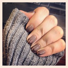 Sparkly Gray With Copper Glitter Tips Nail Polish - Thanksgiving Manicure Fall Nail Art Get Nails, Fancy Nails, Love Nails, How To Do Nails, Pretty Nails, Hair And Nails, Beach Nail Designs, Nail Art Designs, Nails Design