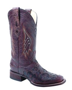 These have my name written over all 'em! Corral Women's Distress Brown/Dark Brown Lizard Inlay Boot - A2404