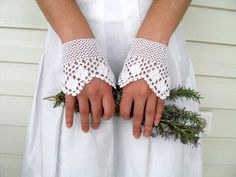 Wedding Gloves, Bridal Gloves,Victorian Gloves,Gothic,Lace Gloves, Romantic Crocheted Gloves via Etsy
