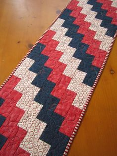 Quilted Table Runner Patriotic Red and Blue by patchworkmountain.com