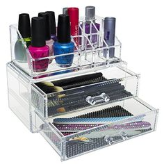 Pro Clear Acrylic Counter / Dresser Top 2 Drawers Cosmetics Makeup Organizer Storage Display Box Caddy MyGift http://www.amazon.com/dp/B00R20XKYY/ref=cm_sw_r_pi_dp_Uxo4wb02RZ4ZV