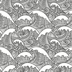 Beautiful Waves Colouring Page In An Artistic Japanese Style Grown Up Abstract Doodle Coloring Pages Adult Detailed Advanced Printable