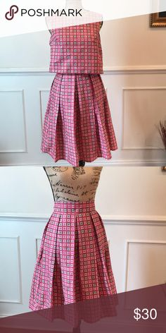 2 piece skirt set. Crop top and box pleat skirt. Colors Pink, white and a brown. sew graceful Skirts Skirt Sets