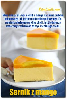 Cheese cake with mango Tart Recipes, Cooking Recipes, Mango Mousse Cake, Easy Desserts, Dessert Recipes, Polish Desserts, Cheesecake Bites, Good Healthy Recipes, Food Plating