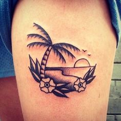 A simple yet unique beach tattoo. This design leans more into the abstract style yet the beach and the palm trees as well as the flowers are still close to detail but overall, the design looks sharp, simple and one of a kind. Tattoo Life, Hawaiianisches Tattoo, Tatoo Art, Piercing Tattoo, Beachy Tattoos, Sunset Tattoos, Tropical Tattoo, Hawaiian Tattoo, Foot Tattoos