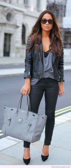 Love the combo, black and gray outfit, so chic