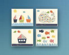 Nautical Nursery Decor: Great Idea For Baby Shower Gift - set of 4 8x10, Nautical Nursery Print For Baby Boy Nursery Room Decor on Etsy, $65.00