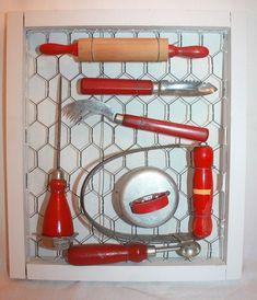 Vintage Antique Collection of Framed Red Handled Kitchen Utensils Bakelite, Wood