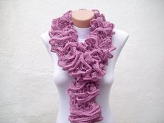 Purple  pink and violet  Knit Scarf  Fall Fashion Frilly by nurlu,