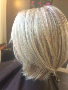 Icy blonde lob. Long Bob. Hair by Beth.