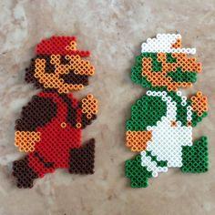 Perler bead Super Mario & Luigi by jennionenote on Etsy, $4.25