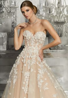Meadow Wedding Dress by Morilee Strapless soft tulle ball gown featuring sweetheart neckline and embroidered lace appliqués. Three dimensional flowers accent the bodice and cascade down the A-Line Skirt. Covered button details along the back. Mori Lee Bridal, Mori Lee Wedding Dress, Wedding Dresses 2018, Wedding Dress Shopping, Wedding Dress Styles, Designer Wedding Dresses, Bridal Dresses, 2017 Wedding, Wedding Colors