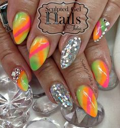 Sculpted neon colored nails