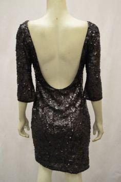 NWT ALBERTO MAKALI Sz 8 Black Low Scoop Back Sequined Shift Dress 130871BJB