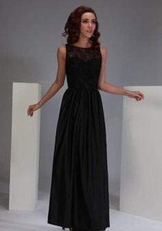 A line Ankle Length Bateau Neck Natural Waist Sleeveless Satin & Lace Bridesmaid Dresses