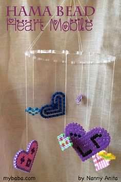 Make a beautiful Hama bead heart mobile with your little one this Valentine's Day. Things To Do Inside, Fun Things, Crafts For Kids, Arts And Crafts, Perler Patterns, Allotment, Perler Beads, Beading Patterns, Valentines Day