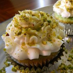 Real Pistachio Cupcakes | This cupcake recipe has you use roasted pistachios rather than a pudding mix to make real pistachio cupcakes from scratch.