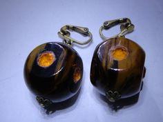Bakelite Rhinestone Beaded Vintage Clip Earrings by NOTABOUTNEED, $75.00