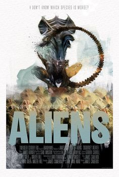 Aliens Sigourney Weaver James Cameron Movie by MarkPaintAndPrints Alien 1979, Alien Film, Alien Art, Hr Giger, Giger Alien, Best Movie Posters, Movie Poster Art, Cool Posters, Alien Vs Predator