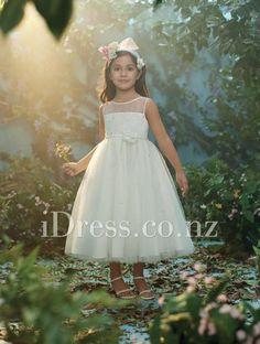 tea length sequin sheer boat neck sleeveless a-line flower girl dress