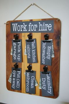 The Life of a Craft Crazed Mom: Work for Hire Chore Cards chart clipboard
