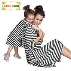 2017 Mother Daughter Dresses Autumn New Stripe Design Girls Kids Mommy And Me Clothes Dress Brand Long sleeves Family Clothing