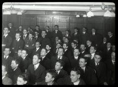 Seward Park, interior views, East Side Debating Club meeting [closer view].