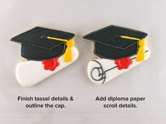 How to Make a Graduation Cookie Platter - Semi Sweet Designs Graduation Tassel, Graduation Cookies, Cookie Designs, Cookie Ideas, Paper Outline, White Icing, Piping Icing, School Colors, Fun Cookies