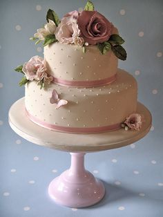 This is the perfect size, i love the ribbon and pearls and butterfly, and the flowers i like only we could do them with non frosting flowers to make it less labor intensive! and with the right colors, of course:)