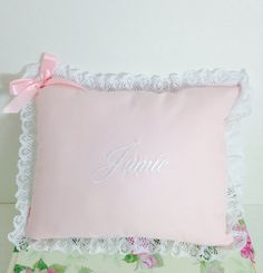 Baby pillow with lace trim- Personalized pillows- Nursery decor pillows- Baby shower gift-Custom pillows