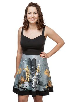 Retro-chic vintage Star Wars pattern dress featuring a sweetheart neckline and gorgeous watercolor art based on the original Episode IV poster. A ThinkGeek exclusive from Her Universe, so make sure to get yours here before heading to Max Rebo's sock hop!