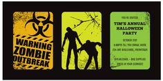 Zombie Outbreak - Halloween invitations from only $1 each! Visit Paper Divas to personalise your own unique party invitations now!