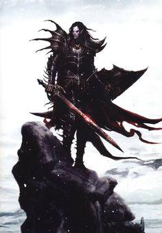 Malus Darkblade, par (auteur inconnu), in (source inconnue) par Black Library Warhammer Dark Elves, Warhammer Armies, Warhammer Art, Warhammer Fantasy, Fantasy Heroes, Fantasy Battle, Dark Fantasy Art, Fantasy Characters, Fantasy Artwork