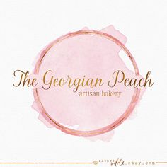 Pink and Gold Circle Logo , Pink Watercolor , Peach Watercolour , Gold Ring Logo , Gold Leaf , Circular Logo , Half Circle Logo , Paint Logo