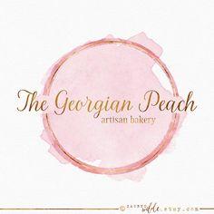 Pink and Gold Circle Logo , Pink Watercolor , Peach Watercolour , Gold Ring Logo , Gold Leaf , Circular Logo , Half Circle Logo , Paint Logo
